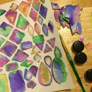 painted gem shapes on paper