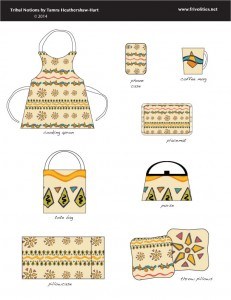 mockup showing pattern on pillows and aprons